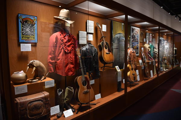 "Items on display at the ""Outlaws and Armadillos"" exhibition at the Country Music Hall of Fame and Museum in Nashville."