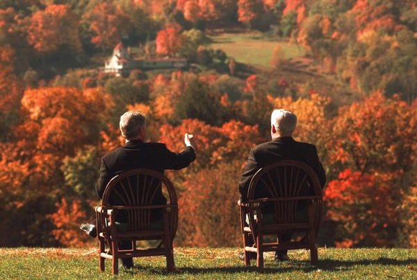 President Bill Clinton (left) and Russian President Boris Yeltsin overlook the fall splendor of the Hudson Valley from the grounds of Franklin Roosevelt's home in Hyde Park, N.Y., on Oct. 23, 1995. The pair had a close relationship throughout the 1990s, befitting a time of reduced tensions just after the Cold War had ended.