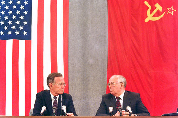 President George Bush and his Soviet counterpart Mikhail Gorbachev during a press conference at a summit in Moscow on July 31, 1991. By the end of the year, the Soviet Union had collapsed and Gorbachev was forced from power.
