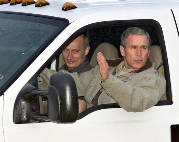 "President George W. Bush drives Russian President Vladimir Putin at Bush's ranch in Crawford, Texas, in 2001. At an earlier meeting, Bush said of Putin, ""I was able to get a sense of his soul."" But relations would soon sour."
