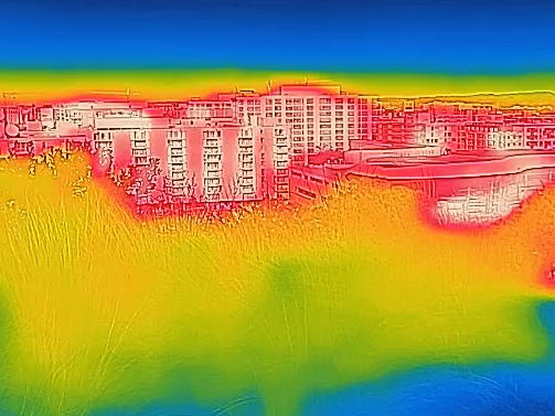 An view of Washington, D.C. through a thermal camera.