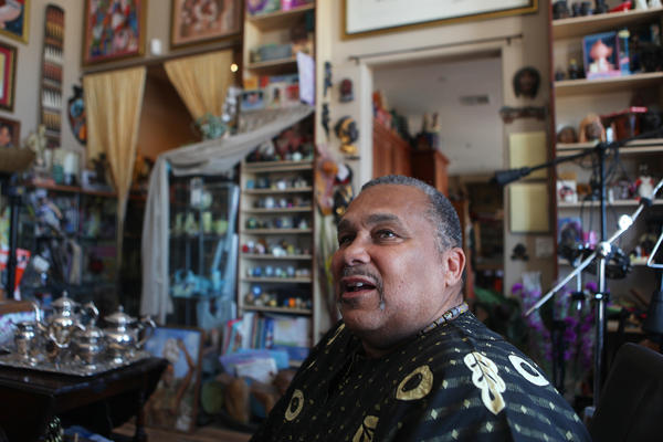 "The living room of Oran's house in the Mojave Desert is packed with items from his museum, which range from Little Black Sambo figurines to contemporary toys featuring black characters to paintings by black artists. ""We got to preserve the whole story,"" he says."