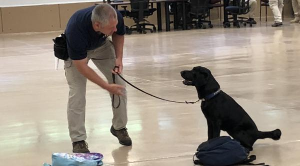 An agent from the Bureau of Alcohol, Tobacco and Firearms trains a sniffer dog at its facility in Front Royal, Va.