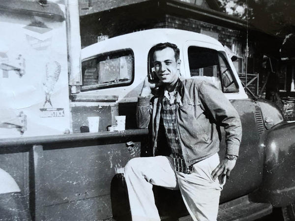 Allan Ganz, then 19, poses in front of his dad's ice cream truck.