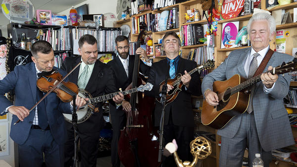 Del McCoury performs a Tiny Desk Concert on July 11, 2018 (Samantha Clark/NPR).