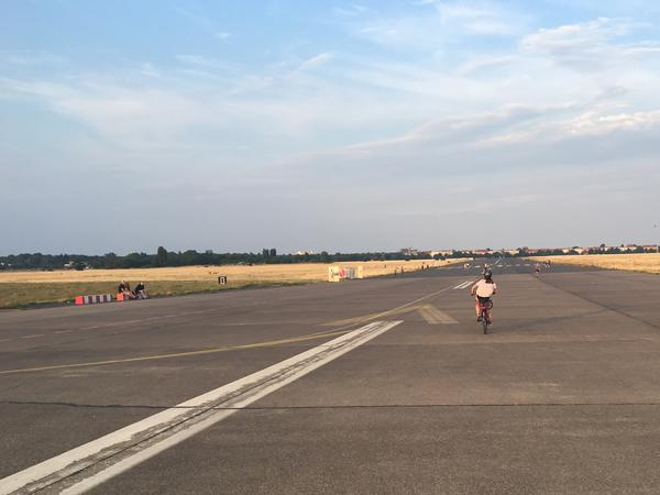 Riding to the end of one of Tempelhof's former runways is a serious workout.