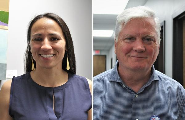 Sharice Davids, left, and Jay Sidie are two of the six Democratic contenders in Kansas' August primary election. The winner will challenge incumbent U.S. Rep. Kevin Yoder in November.
