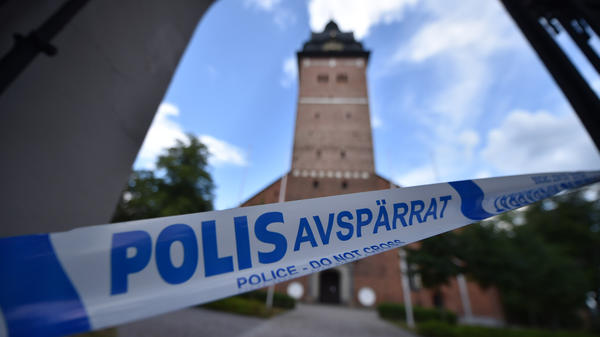 Swedish police cordoned off at area on Tuesday as they investigate the theft of royal jewels from the Strängnäs Cathedral.
