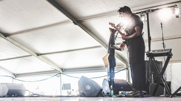 Moses Sumney performing at the 2018 Newport Folk Festival