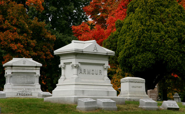 Four of the five brothers who started Armour and Company Meat Packing are buried at Elmwood Cemetery.