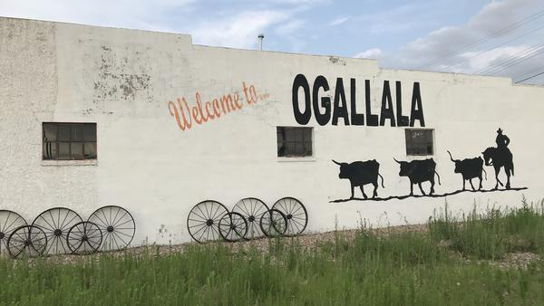 The welcome sign in Ogallala, Neb., population 4,500.