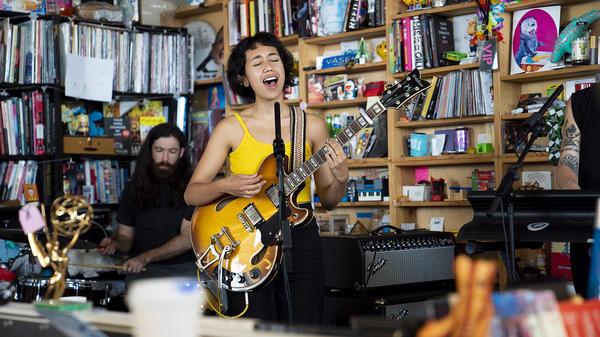 Haley Heynderickx performs a Tiny Desk Concert on July 2, 2018 (Eric Lee/NPR).