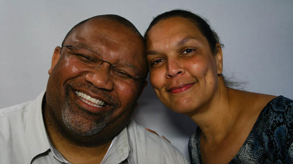 Percy White III and his friend Terry Wright talk about the life of White's late father, a former sharecropper, at their StoryCorps interview in 2012 in Arlington, Va.