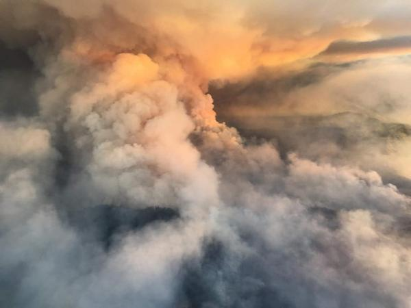 <p>Smoke from the Garner Complex fires blots out the sunset in southern Oregon.</p>