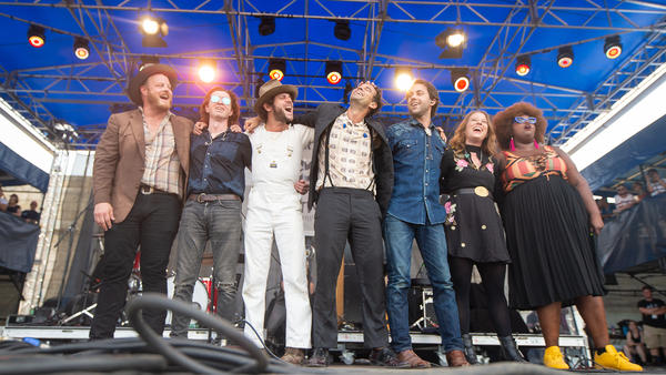 Lone Bellow performing at the 2018 Newport Folk Festival.