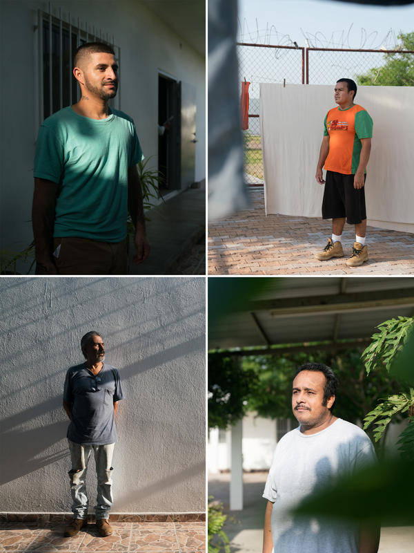 Clockwise from top: Luis Francisco, 25; Jesus Lopez, 44; Andres Gonzales, 42; Joel Ruvalcaba, 58. La Casa del Migrante is open to whoever may need it, regardless of nationality. Those passing through can stay for a total of three days. They are given hot meals, new clothes and shoes and access to a phone.
