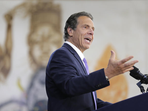 "New York Gov. Andrew Cuomo, shown here speaking at an event last month, has described the NRA's lawsuit against him as ""frivolous."""