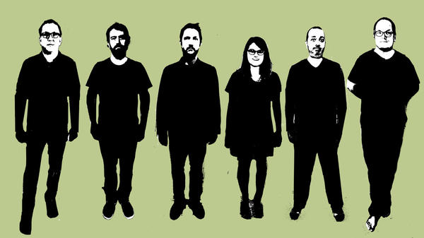 """""""I do feel like the nihilism that lives within me really reared its head on this record,"""" Cursive's Tim Kasher (center) says of <em>Vitriola</em>."""