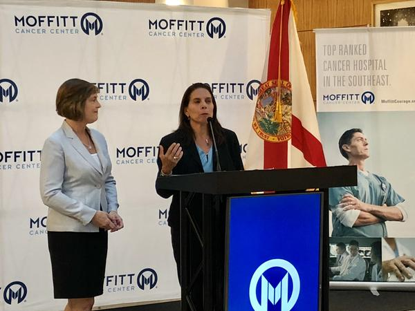 U.S. Rep. Kathy Castor and Dr. Anna Giuliano discuss HPV vaccination rates at the Moffitt Cancer Center.