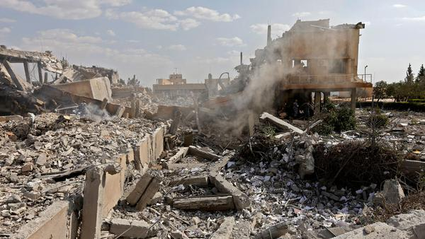 Wreckage of a building described as part of the Scientific Studies and Research Centre (SSRC) compound in the Barzeh district, north of Damascus, in a photo from April.
