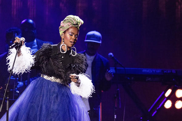 Lauryn Hill is seen at the 2018 Rock and Roll Hall of Fame Induction Ceremony at Cleveland Public Auditorium Saturday, April 14, 2018, in Cleveland, Ohio. (Michael Zorn/Invision/AP)