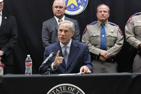 Gov. Greg Abbott at a news conference Tuesday in Waco, proposing bail reform.