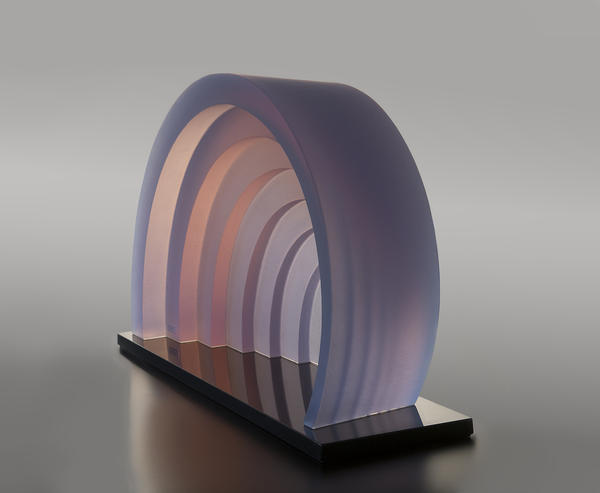 Mark Peiser, Passage 7, hot-cast, phase-separated glass, granite base, 17-3/4 x 32 x 7-3/4 inches