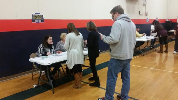School staff members at Mahomet-Seymour Community Unit School District 3 participated in a poverty simulation at Mahomet-Seymour Junior High School in January 2018.