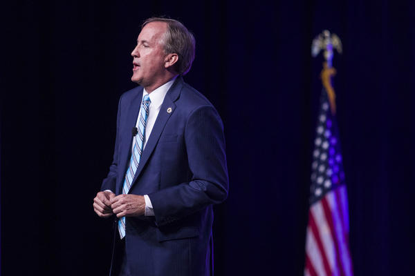 Texas Attorney General Ken Paxton speaks during the Texas Republican Convention in San Antonio in June.