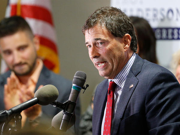 Troy Balderson, Republican candidate for Ohio's 12th Congressional District, speaks to a crowd of supporters during an election night party Tuesday in Newark, Ohio.