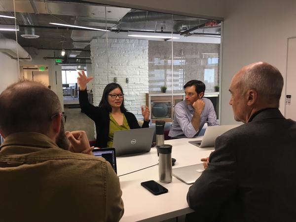 Staff of the newly formed publication, The Colorado Sun, at their weekly news meeting. Clockwise from left: Eric Lubbers, Tamara Chuang, John Ingold and Larry Ryckman.