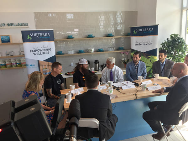 Charlie Crist held a roundtable discussion with members of the cannabis industry and veterans who take marijuana to help with PTSD and other medical issues.