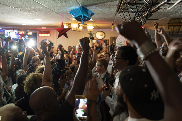 Wesley Bell celebrates with his supporters at La Mexicana in St. Ann on August 7. He drew on a broad coalition of voters to beat Bob McCulloch 57 percent to 43 percent.