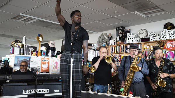 Tower of Power performs a Tiny Desk Concert on June 26, 2018 (Samantha Clark/NPR).