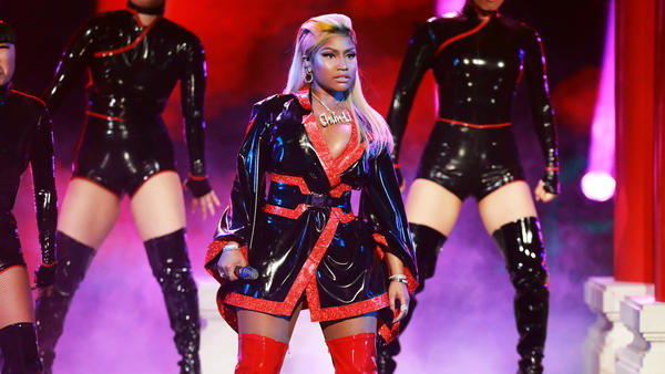 Nicki Minaj performs onstage at the 2018 BET Awards on June 24, 2018 in Los Angeles. The rapper's latest album <em>Queen</em> arrives today.