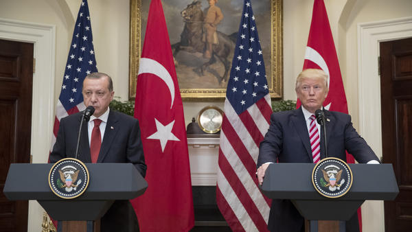 President Trump and Turkish President Recep Tayyip Erdogan appear in the Roosevelt Room of the White House on May 16, 2017. On Friday, Trump announced he would double aluminum and steel tariffs on the NATO ally.