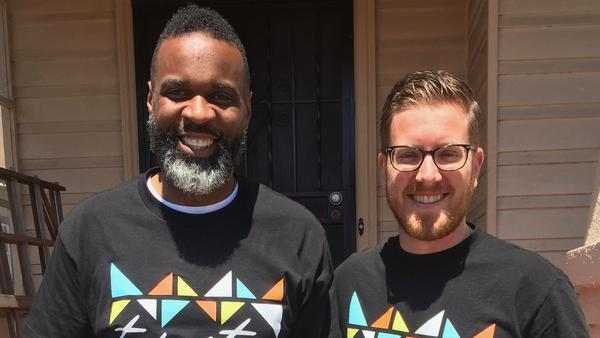 Pastor Bernard Emerson (left) and Pastor Kyle Brooks (right) standing in front of Brook's East Oakland house.