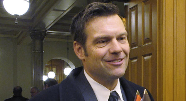 Kansas Secretary of State Kris Kobach says he will recuse himself from vote counting in the Republican gubernatorial primary.