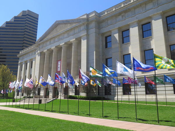 County flags flying at the Ohio Statehouse