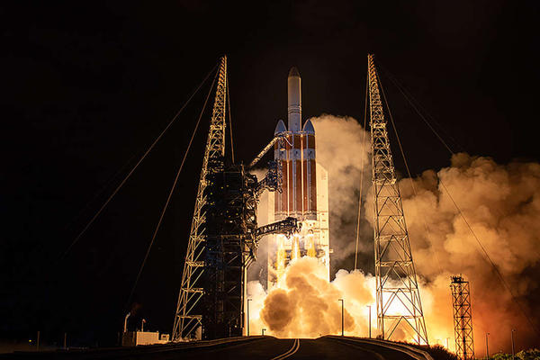 A United Launch Alliance Delta IV Heavy rocket carrying the NASA Parker Solar Probe spacecraft lifts off from Space Launch Complex-37 at 3:31 a.m. Sunday.