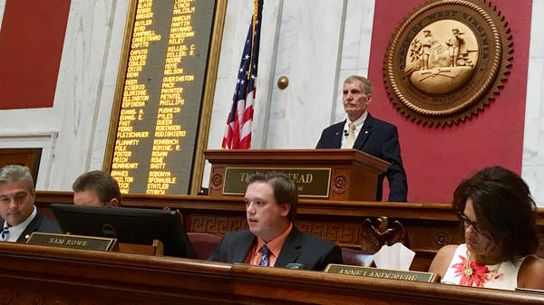 West Virginia House Speaker Pro Tempore John Overington presides over a hearing on articles of impeachment on Monday at the state Capitol in Charleston, W.Va.