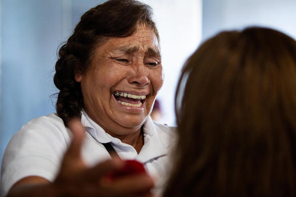"""Rosa Barriga Barriga is reunited with family members living in the U.S. during the """"Palomas Mensajeras"""" event at St. William Catholic Church in Round Rock on Friday."""