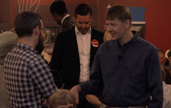 Rich Cordray, Democratic gubernatorial nominee talks to people at a diner in Grove City December 2017.