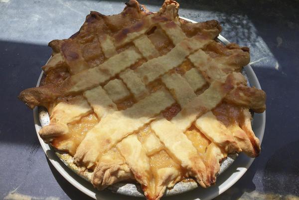 Chef Kathy Gunst's summer peach pie. (Kathy Gunst for Here & Now)