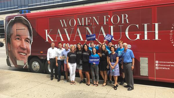 Activists from Concerned Women for America make a stop on their bus tour in Indianapolis, where Democratic Sen. Joe Donnelly is facing pressure from the right as he prepares to vote on the Supreme Court nomination of Judge Brett Kavanaugh just weeks before Election Day.