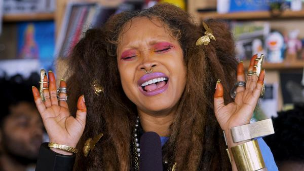 Erykah Badu performs a Tiny Desk Concert on Aug. 6, 2018 (Morgan Noelle Smith/NPR).