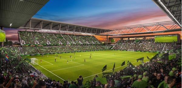 An artist's rendering of a proposed stadium at McKalla Place near the Domain.