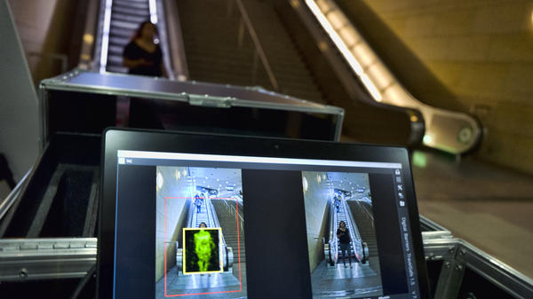 A passenger at Union Station in Los Angeles is scanned with Thruvision technology, designed to reveal suspicious objects on people, during a Transportation Security Administration demonstration on Tuesday.