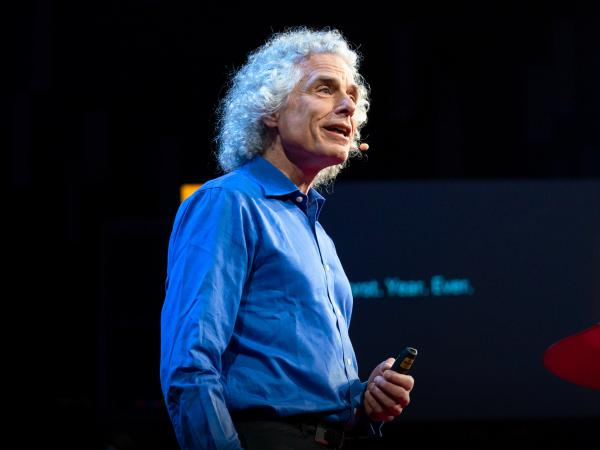 Steven Pinker on the TED stage.