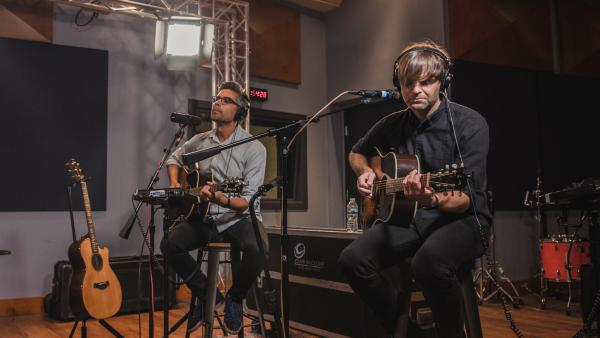 Death Cab For Cutie inside the World Cafe Performance Studio